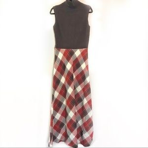 Vintage 70s Rust Sleeveless Turtleneck Maxi Dress